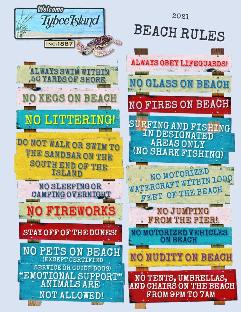 tybee beach rules